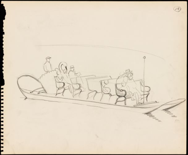 Sketch of people on a swan boat