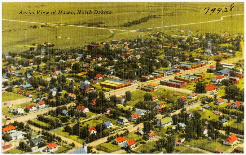 Aerial view of Hazen, North Dakota