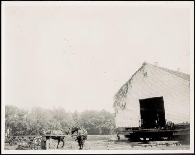 Ashdale Farm. Moving of barn, work horses on left.