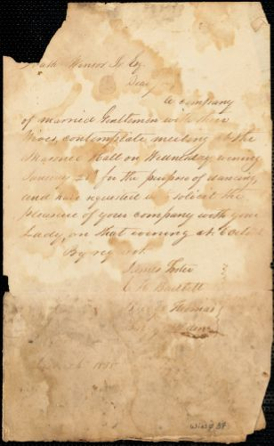 Invitation to a dance at the Masonic Hall, 1835