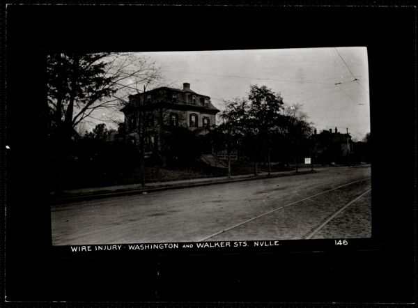 Villages of Newton, MA. Newtonville. Trolley wire, Wash & Walker Sts, Newtonville