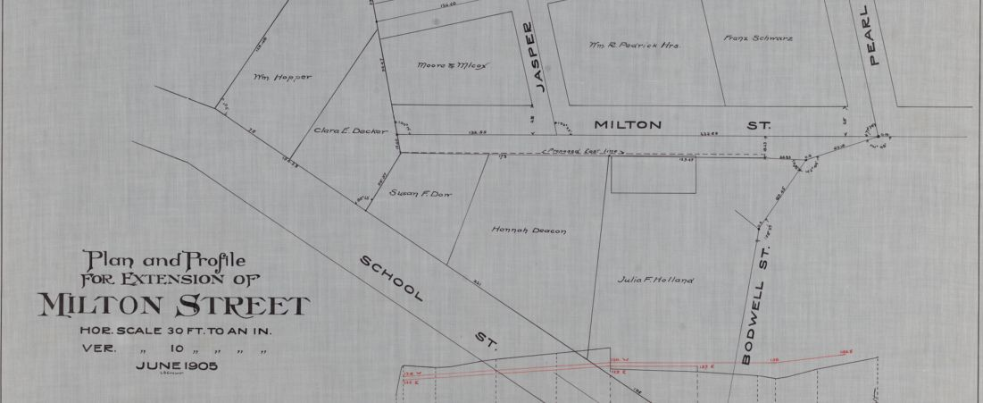 Plan and profile for extension of Milton Street