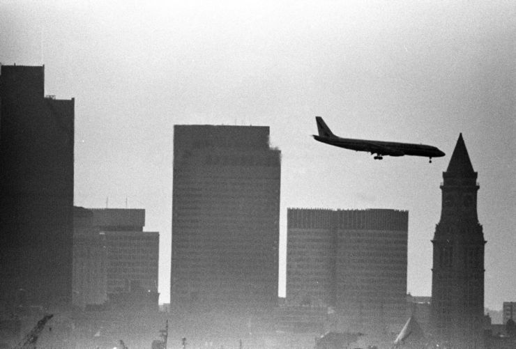 Airliner over downtown (1,000mm lens), downtown Boston