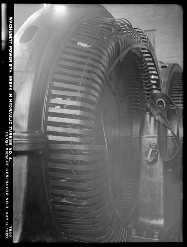 Wachusett Department, Wachusett Dam Hydroelectric Power Plant, break in turbine No. 4, close view of generator No. 3, Clinton, Mass., May 3, 1920