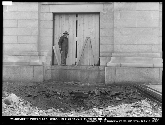 Wachusett Department, Wachusett Dam Hydroelectric Power Station, break in turbine No. 4, washout in driveway west of station, Clinton, Mass., May 3, 1920
