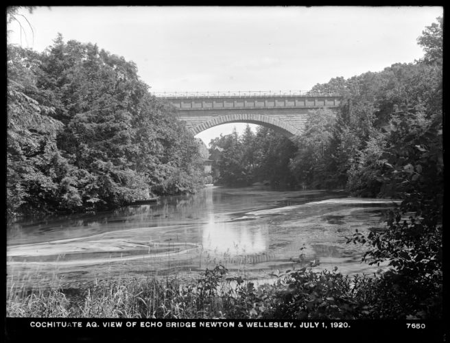 Sudbury Department, Sudbury Aqueduct, view of Echo Bridge, looking upstream towards mill; incorrectly identified as Cochituate Aqueduct, Needham; Newton, Mass., Jul. 1, 1920