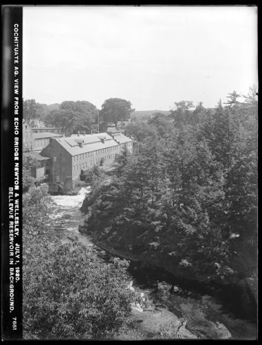 Sudbury Department, Sudbury Aqueduct, view from Echo Bridge, looking upstream towards mill, Bellevue Reservoir in background; incorrectly identified as Cochituate Aqueduct, Needham; Newton, Mass., Jul. 1, 1920