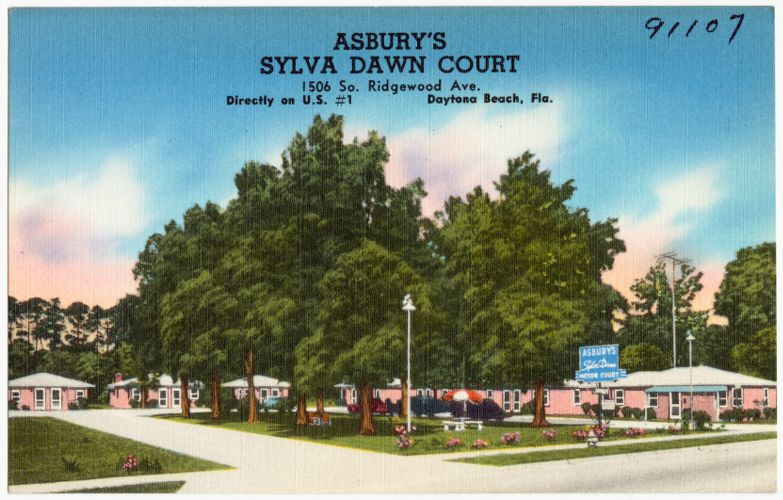 Asbury's Sylva Dawn Court, 1506 South Ridgewood Avenue, directly on U.S. 1, Daytona Beach, Florida