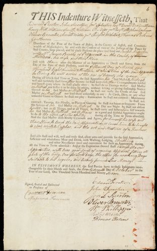 Document of indenture: Servant: Anderson, Joseph. Master: Brooks, James. Town of Master: Pepperell