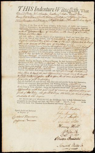 Document of indenture: Servant: Ramsdell, Catharine. Master: Payne, Ebenezer. Town of Master: Camden