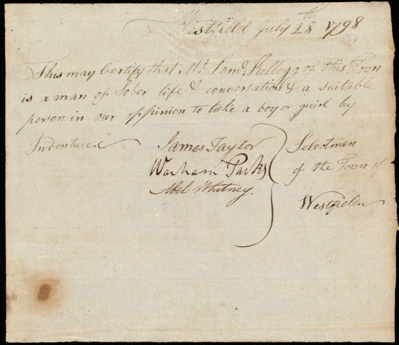 Document of indenture: Servant: Panot, Sukey. Master: Kellogg, Samuel. Town of Master: Westfield. Selectmen of the town of Westfield autograph document signed to the Overseers of the Poor of the town of Boston: Endorsement Certificate for Samuel Kellogg.