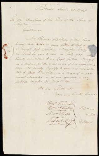 Document of indenture: Servant: Eddy, Barzellai. Master: Knight, Joshua. Town of Master: Portland. Selectmen of the town of Portland autograph document signed to the Overseers of the Poor of the town of Boston: Endorsement Certificate for Joshua Knight.