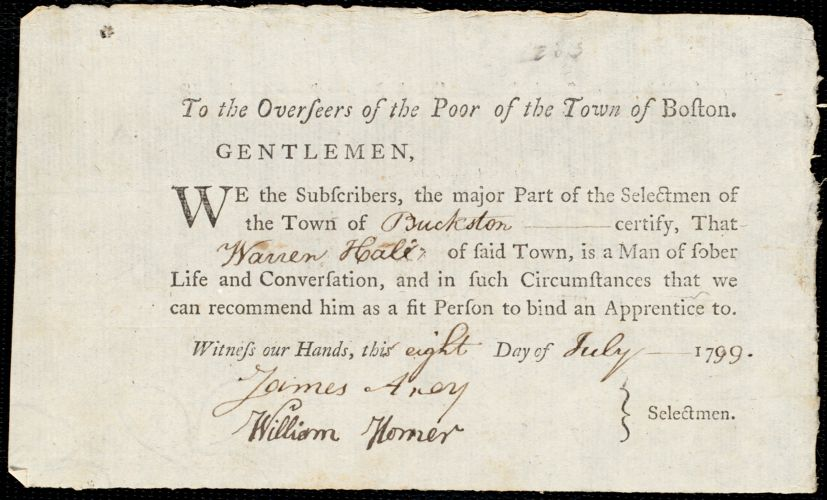 Document of indenture: Servant: Sharp, Mary Ann. Master: Hall, Warren. Town of Master: Buckston. Selectmen of the town of Buckston autograph document signed to the Overseers of the poor of the town of Boston: Endorsement Certificate for Warren Hall.