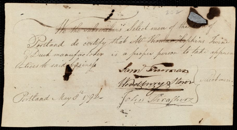 Document of indenture: Servant: Gair, Nancy. Master: Storer, Ebenezer. Town of Master: Portland. Selectmen of the town of Portland autograph document signed to the [Overseers of the Poor of the town of Boston]: Endorsement Certificate for Ebenezer Storer.