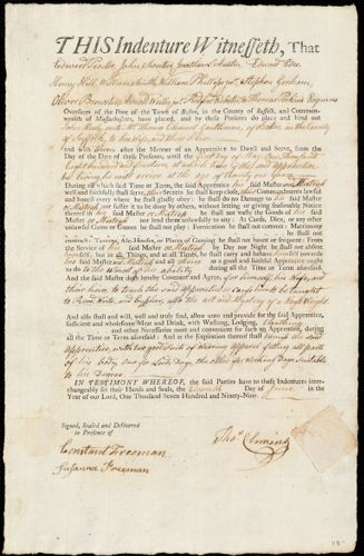 Document of indenture: Servant: Healy, John. Master: Clement, Thomas. Town of Master: Boston