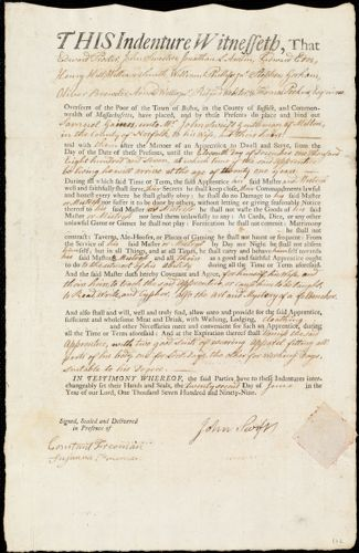 Document of indenture: Servant: Gaines, Samuel. Master: Swift, John. Town of Master: Milton