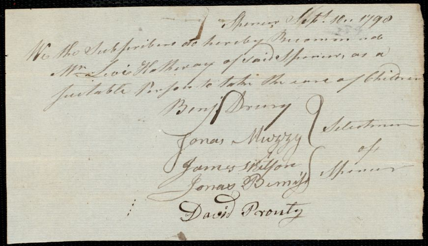 Document of indenture: Servant: Murry, James. Master: Hathway, Levi. Town of Master: Spencer. Selectmen of the town of Spencer autograph document signed to the [Overseers of the Poor of the town of Boston]: Endorsement Certificate for Levi Hathway.