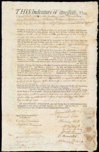 Document of indenture: Servant: Smith, Sophia. Master: Patton, William. Town of Master: Roxbury