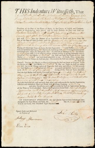 Document of indenture: Servant: Blackburn, Barbara. Master: Hills, John. Town of Master: Boston