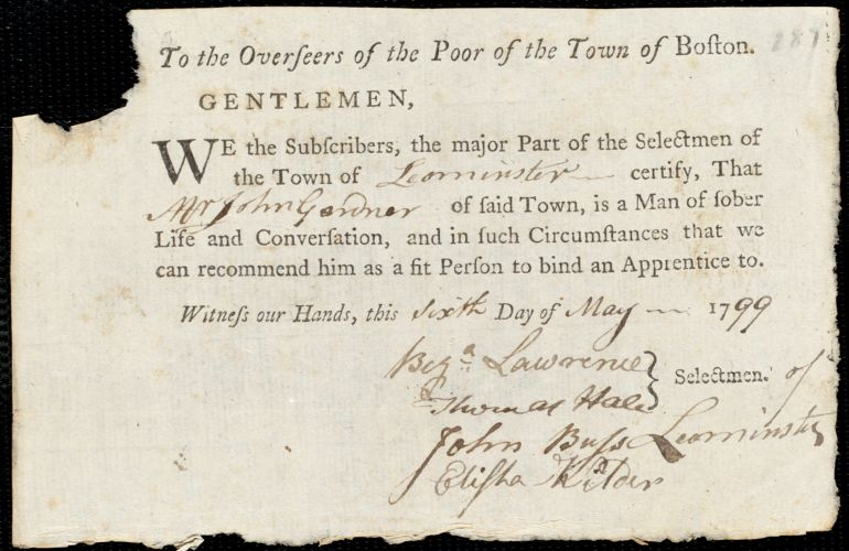 Document of indenture: Servant: Quill, Cornelius O. Master: Gardner, John. Town of Master: Leominster. Selectmen of the town of Leominster autograph document signed to the Overseers of the Poor of the town of Boston: Endorsement Certificate for John Gardner.
