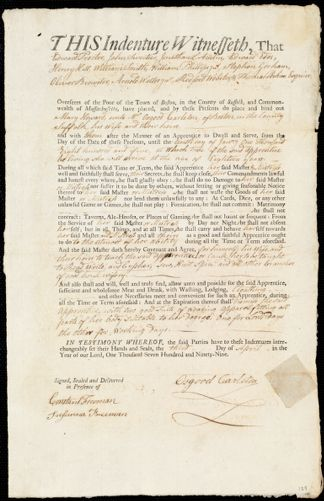 Document of indenture: Servant: Howard, Mary. Master: Carleton, Osgood. Town of Master: Boston
