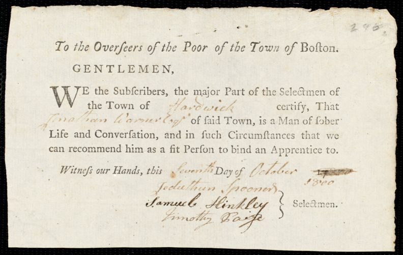 Document of indenture: Servant: Monk, George. Master: Warner, Jonathan. Town of Master: Hardwick. Selectmen of the town of Hardwick autograph document signed to the Overseers of the Poor of the town of Boston: Endorsement Certificate for Jonathan Warner.