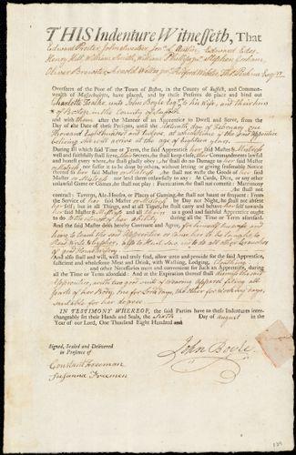 Document of indenture: Servant: Foalke, Charlotte. Master: Boyle, John. Town of Master: Boston
