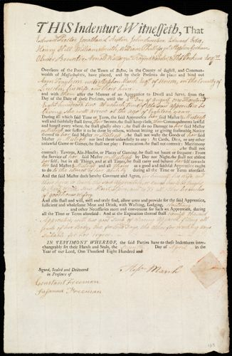 Document of indenture: Servant: Trayhorn, Ann. Master: March, Stephen. Town of Master: Union