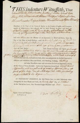 Document of indenture: Servant: Ramsdale, Silas. Master: Weston, Ezra. Town of Master: Duxborough