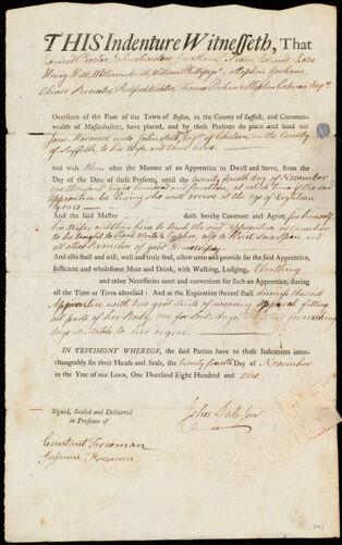 Document of indenture: Servant: Marmior, Jane. Master: Sale, John Jr. Town of Master: Chelsea
