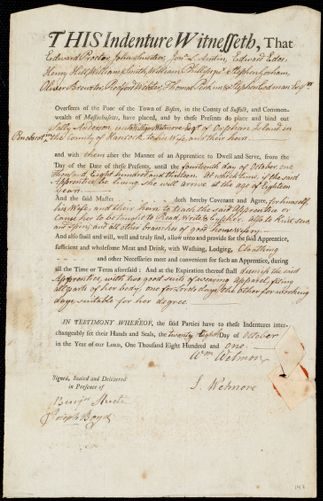 Document of indenture: Servant: Anderson, Sally. Master: Wetmore, William. Town of Master: Penobscot