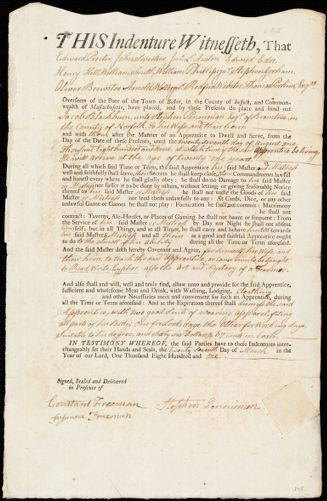 Document of indenture: Servant: Blackburn, Jacob. Master: Penniman, Stephen. Town of Master: Braintree