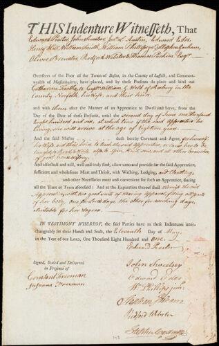 Document of indenture: Servant: Foalke, Catharine. Master: Weld, William G. Town of Master: Roxbury