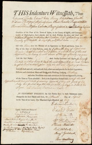 Document of indenture: Servant: Higgins, William. Master: Cookson, Samuel. Town of Master: Roxbury