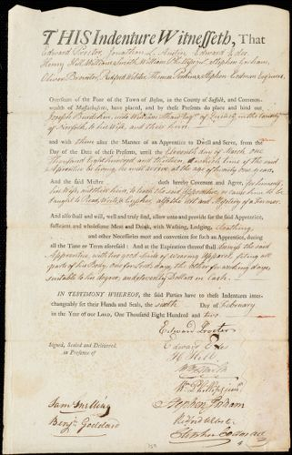 Document of indenture: Servant: Burdekin, Joseph. Master: Shaw, William. Town of Master: Quincy