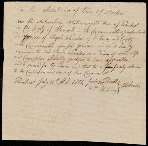 Document of indenture: Servant: Springfield, John. Master: Winslow, Elijah. Town of Master: Penobscot. Selectmen of the town of Penobscot autograph document signed to the Selectmen of the town of Boston: Endorsement Certificate for Elijah Winslow.