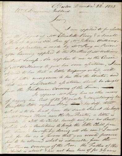 Document of indenture: Servant: Eaton, Jacob. Master: Capen, John. Town of Master: Canton. Quincy, John W. autograph letter signed to Benjamin Goddard; Boston, describing the plight of Mrs. Elizabeth Perry and asking for assistance from the Overseers of the Poor.