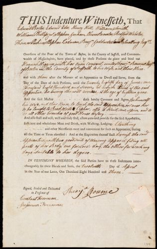 Document of indenture: Servant: Higgins, Hannah. Master: Bourne, Shearja. Town of Master: Boston