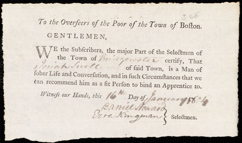 Document of indenture: Servant: Newell, Ruth. Master: Snell, Josiah. Town of Master: Bridgewater. Selectmen of the town of Bridgewater autograph document signed to the Overseers of the Poor of the town of Boston: Endorsement Certificate for Josiah Snell.