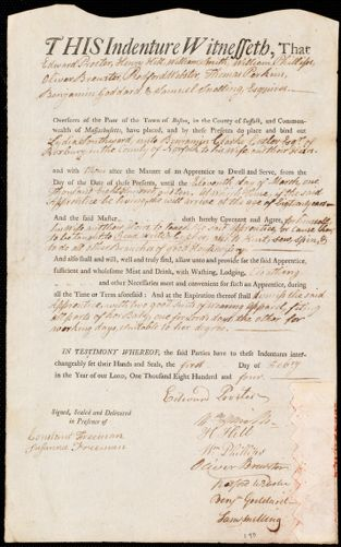 Document of indenture: Servant: Southward, Lydia. Master: Cutler, Benjamin Clarke. Town of Master: Roxbury