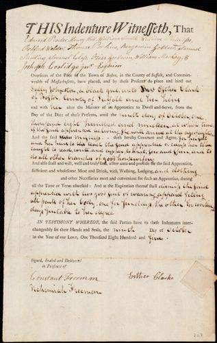 Document of indenture: Servant: Johnston, Sally. Master: Clark, Esther. Town of Master: Boston
