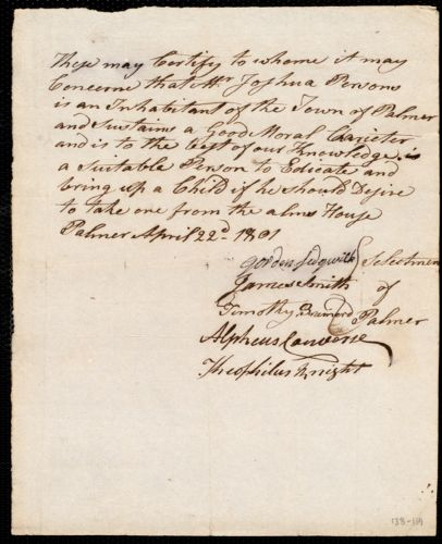 Overseers of the Poor of the town of Boston. Endorsement Certificate for Joshua Persons, Palmer.
