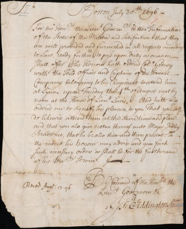 Order to Col. Nathaniel Saltonstall, 1696 July 30