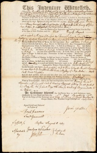 Document of indenture: Servant: Carrigan, Henry. Master: Yeaton, Jacob. Town of Master: Marblehead
