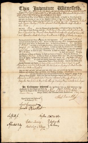 Document of indenture: Servant: Ballard, Benjamin. Master: Bentley, Thomas. Town of Master: Boston