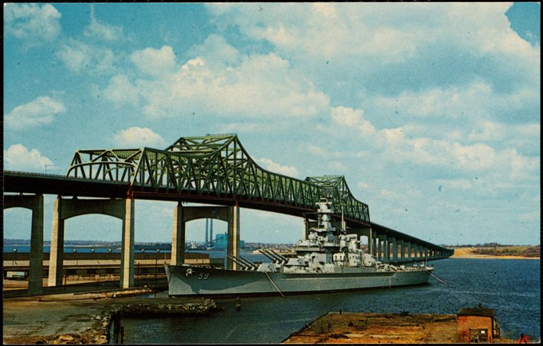 The Battleship USS Massachusetts at Braga Bridge, Fall River, Mass.