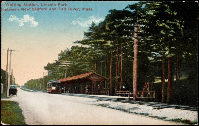 Waiting station, Lincoln Park, between New Bedford and Fall River, Mass.