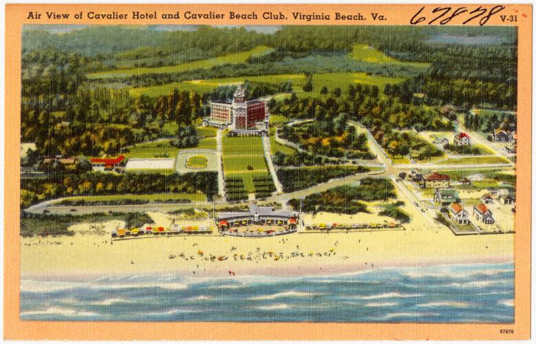 Air view of Cavalier Hotel and Cavalier Beach Club, Virginia Beach, Va.