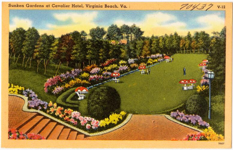 Sunken gardens at Cavalier Hotel, Virginia Beach, Va.