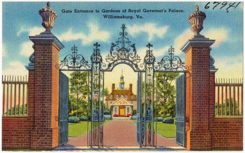 Gate entrance to Gardens of Royal Governor's Palace, Williamsburg, Va.